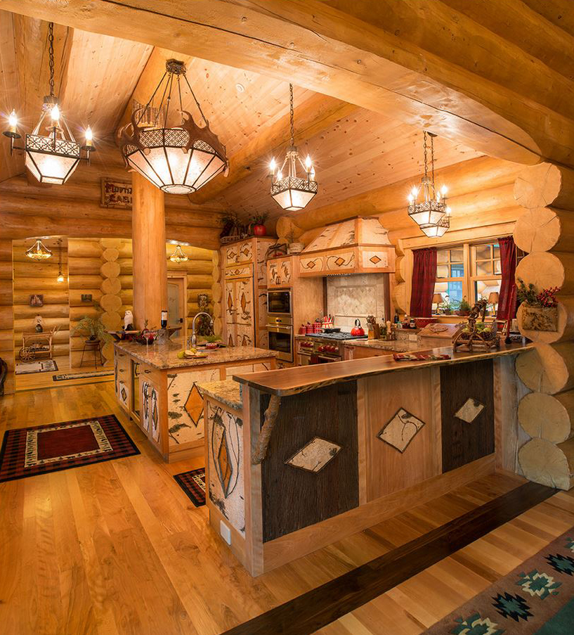 Log home decorations best free home design idea inspiration Log home kitchen design ideas